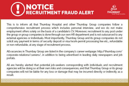 Thumbay Group Issues Alert on Fake Job Offers